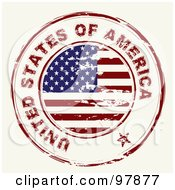 Royalty Free RF Clipart Illustration Of A Round Distressed American Ink Stamp by michaeltravers #COLLC97877-0111