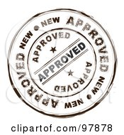 Royalty Free RF Clipart Illustration Of A Round Distressed Approved Ink Stamp by michaeltravers