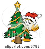 Light Switch Mascot Cartoon Character Waving And Standing By A Decorated Christmas Tree