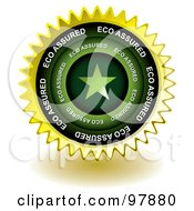 Royalty Free RF Clipart Illustration Of A Golden Eco Assured Sticker Seal Icon