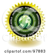 Royalty Free RF Clipart Illustration Of A Green Eco Earth Sticker Seal Icon