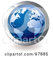 Royalty Free RF Clipart Illustration Of A Blue Globe App Icon by michaeltravers