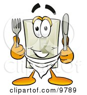 Light Switch Mascot Cartoon Character Holding A Knife And Fork