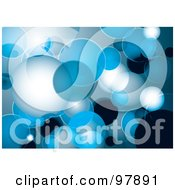 Royalty Free RF Clipart Illustration Of A Background Of Blue And White Floating Bubbles by michaeltravers