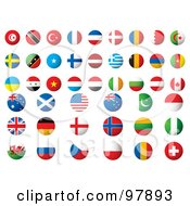 Royalty Free RF Clipart Illustration Of A Digital Collage Of Round Flags Of The World App Icons