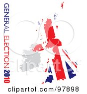 Royalty Free RF Clipart Illustration Of A Grungy Union Flag On White With General Election 2010 Text On The Left Side