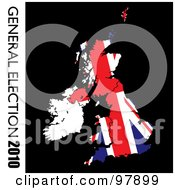 Royalty Free RF Clipart Illustration Of A Grungy Union Flag On Black With General Election 2010 Text On The Left Side by michaeltravers