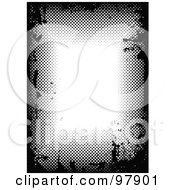 Royalty Free RF Clipart Illustration Of A Black And White Grungy Halftone Border With White Text Space