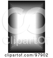 Royalty Free RF Clipart Illustration Of A Black And White Halftone Border With White Text Space