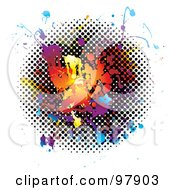 Royalty Free RF Clipart Illustration Of A Grungy Rainbow And Halftone Splatter On White by michaeltravers
