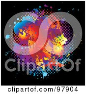 Royalty Free RF Clipart Illustration Of A Grungy Rainbow And Halftone Splatter On Black