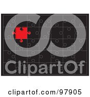 Royalty Free RF Clipart Illustration Of A Black Puzzle With A Red Space Where A Missing Piece Belongs by michaeltravers
