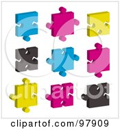 Royalty Free RF Clipart Illustration Of A Digital Collage Of Blue Pink Black And Yellow Puzzle Pieces by michaeltravers