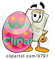 Light Switch Mascot Cartoon Character Standing Beside An Easter Egg