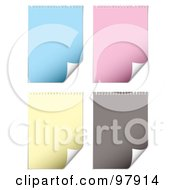 Royalty Free RF Clipart Illustration Of A Digital Collage Of Blue Pink Yellow And Gray Pages With Turning Corners by michaeltravers