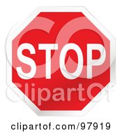 Royalty Free RF Clipart Illustration Of A Red Stop Sign With White Trim by michaeltravers