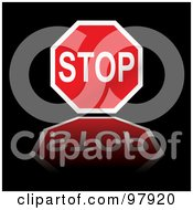 Royalty Free RF Clipart Illustration Of A Stop Sign Reflecting Over Black