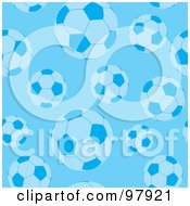 Royalty Free RF Clipart Illustration Of A Background Of Blue Soccer Balls by michaeltravers