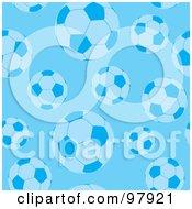 Background Of Blue Soccer Balls