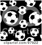 Royalty Free RF Clipart Illustration Of A Seamless Background Of Black And White Soccer Balls by michaeltravers