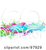 Royalty Free RF Clipart Illustration Of A Background Of Grungy Neon Green Pink Blue And White Paint Lines And Splatters Over White by Arena Creative #COLLC97929-0094