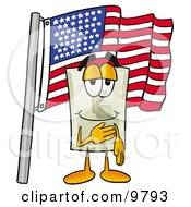 Light Switch Mascot Cartoon Character Pledging Allegiance To An American Flag