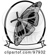 Royalty Free RF Clipart Illustration Of A Grungy Gray Monarch Butterfly Over A Blank Banner And Circle