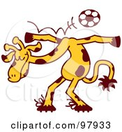 Royalty Free RF Clipart Illustration Of A Talented Giraffe Bouncing A Soccer Ball Off Of His Shoulders by Zooco