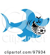 Royalty Free RF Clipart Illustration Of A Blue Soccer Shark Swimming With A Ball In His Mouth by Zooco