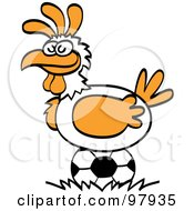 Royalty Free RF Clipart Illustration Of A Chicken Laying A Soccer Ball by Zooco