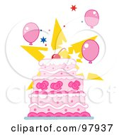 Cherry Topped Triple Tiered Cake With Pink And White Frosting Balloons And Stars