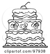 Royalty Free RF Clipart Illustration Of A Triple Tiered Outlind Wedding Cake With Frosting And A Cherry