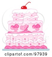 Royalty Free RF Clipart Illustration Of A Triple Tiered Wedding Cake With Pink And White Frosting