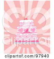 Royalty Free RF Clipart Illustration Of A Triple Tiered Pink Wedding Cake On A Shining Pink Background