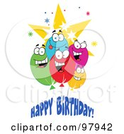Royalty Free RF Clipart Illustration Of A Happy Birthday Greeting Of A Group Of Party Balloon Faces
