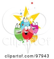 Royalty Free RF Clipart Illustration Of A Group Of Party Balloon Faces And Stars by Hit Toon