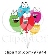 Royalty Free RF Clipart Illustration Of A Group Of Happy Balloon Faces