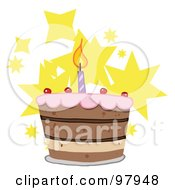 Tiered Birthday Cake With One Candle On Top Over Stars