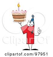 Number One Holding Up A First Birthday Cake by Hit Toon
