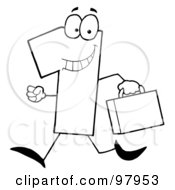 Royalty Free RF Clipart Illustration Of An Outlined Number One Guy Carrying A Briefcase Or Suitcase