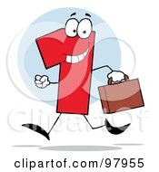 Royalty Free RF Clipart Illustration Of A Red Number 1 Guy Carrying A Briefcase Or Suitcase