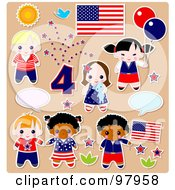 Royalty Free RF Clipart Illustration Of A Digital Collage Of Fourth Of July Kid Sticker Styled Elements