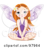 Royalty Free RF Clipart Illustration Of A Red Haired Fairy In A Purple Dress Sitting On The Floor