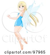 Pretty Blond Fairy In A Blue Dress Looking Back And Smiling