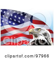 Royalty Free RF Clipart Illustration Of A Fluttering American Flag And Eagle Background by Pushkin