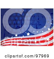 Royalty Free RF Clipart Illustration Of A Grungy American Flag Wave Background by Pushkin