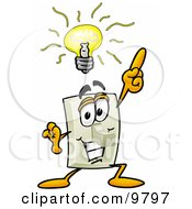 Clipart Picture Of A Light Switch Mascot Cartoon Character With A Bright Idea by Toons4Biz
