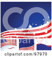 Royalty Free RF Clipart Illustration Of A Digital Collage Of Four American Flag Wave Backgrounds