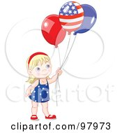 Royalty Free RF Clipart Illustration Of A Blond American Girl Holding Patriotic Party Balloons