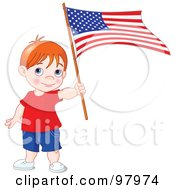 Royalty Free RF Clipart Illustration Of A Red Haired American Boy Holding An American Flag by Pushkin